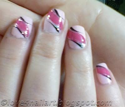 love4nailart easy pink nail art design 4 short nails
