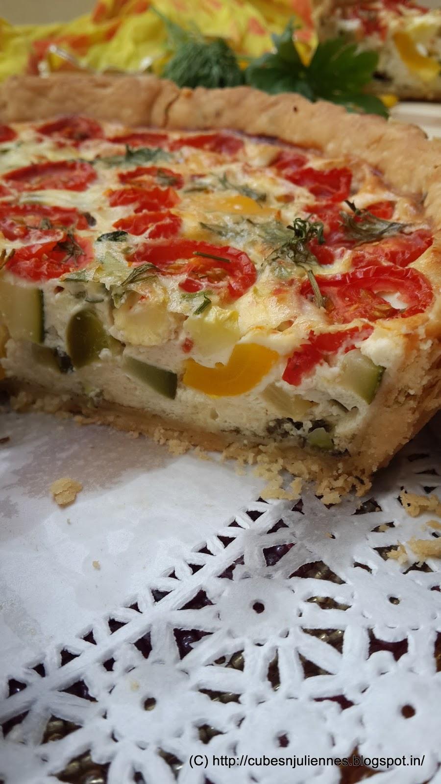 Crème fraiche quiche with pesto and veggies - Cubes N ...