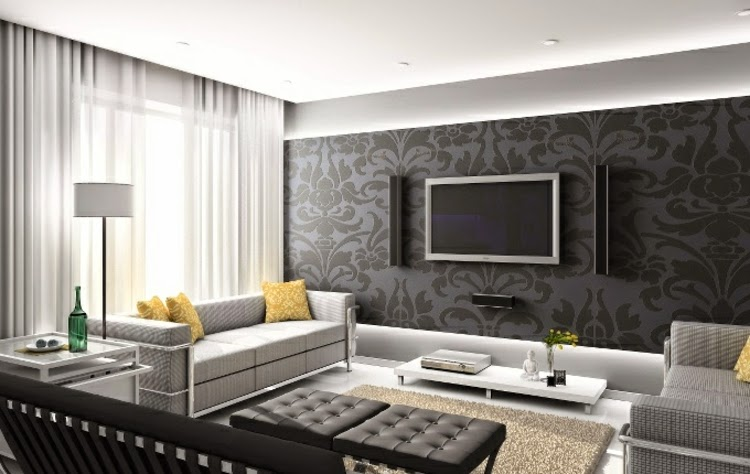 Living Room Wall Decor Ideas Living Room Wall Design With Gray Patterns