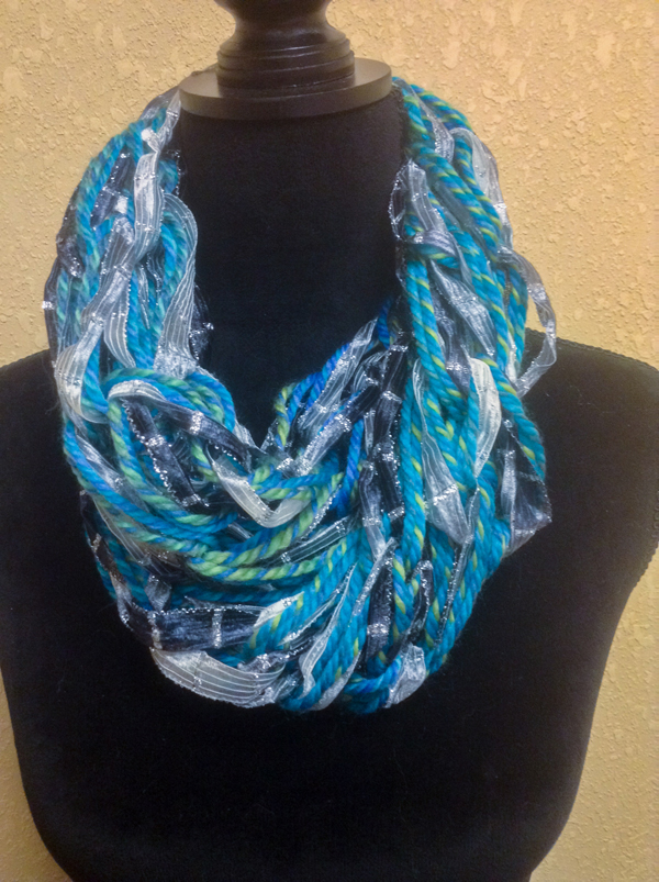 Blue and Silver Twist Arm Knitted Scarf @craftsavvy #craftwarehouse #armknitting #scarves #diy