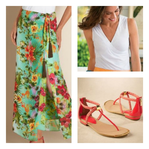 tropical sarong skirt