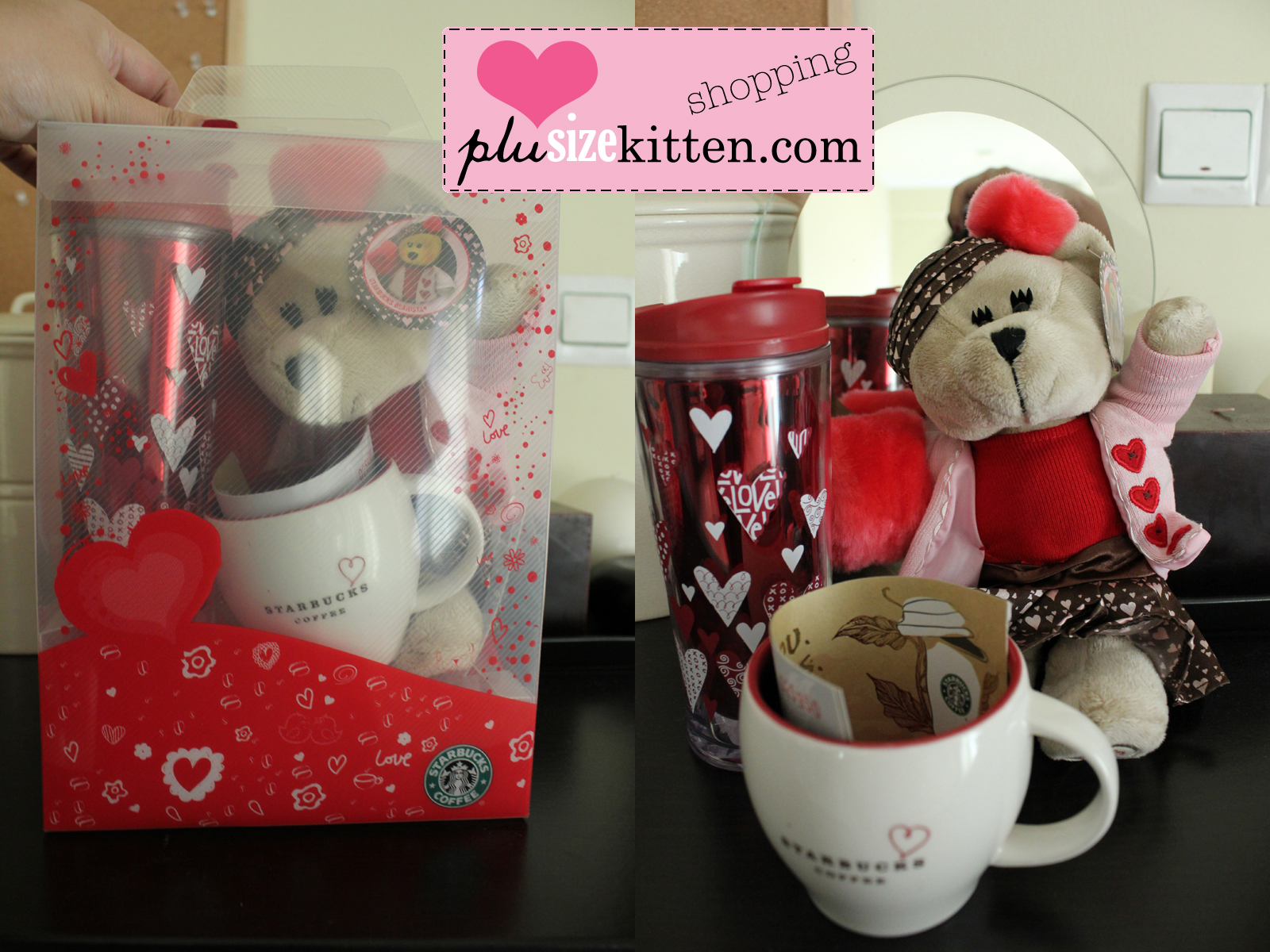 Plus Size Kitten Starbucks Valentines Day Set