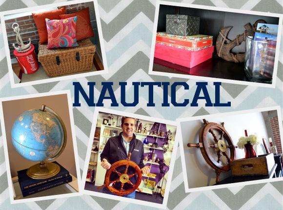 Nautical Collage Globe Anchors