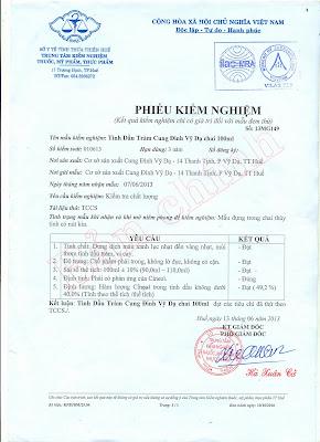 Kiểm nghiệm Sở y tế Dầu tràm cung đình huế