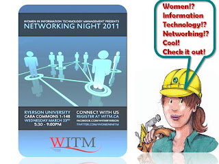 Women in Information Technology Management networking event, Ryerson University, collage, poster, wobinna, by wobuilt.com