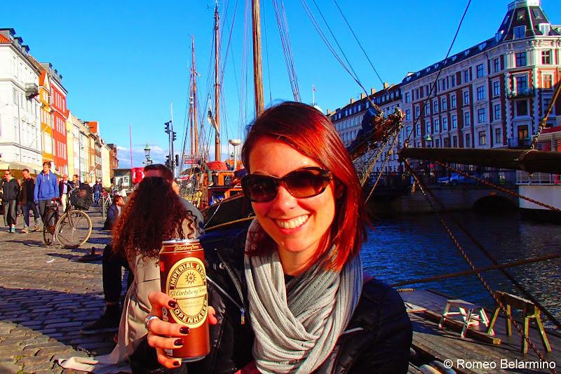 Drinking on Nyhavn Canal Copenhagen Denmark
