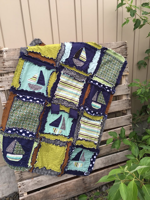 Sailboat Rag Quilt for a Baby Boy Nursery