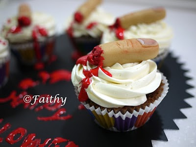Marizpan severed finger cupcake toppers for Halloween party food