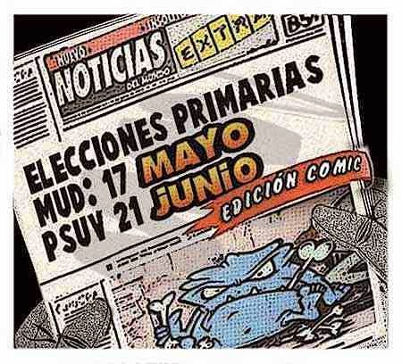 Front page cómic - elecciones primarias Venezuela 2015