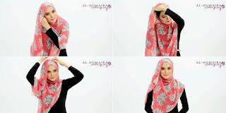 Foto Cara Memakai Hijab Motif Bunga Trend 2016 Model Terbaru