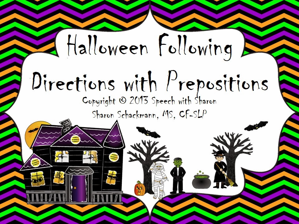 it includes 16 halloween characters and props a house a tree and a mat to place the pictures on - Halloween Following Directions