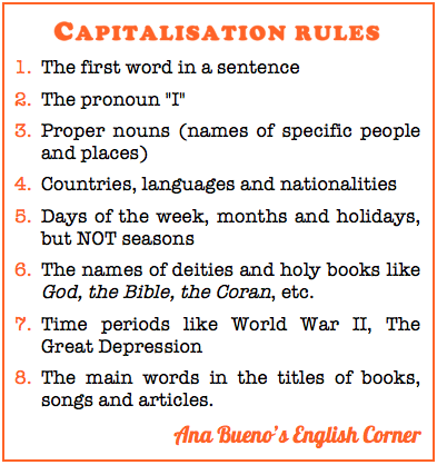 Worksheet Capital Letter English Words ana buenos english corner when do i use capital letters the rules for using are different between languages so here you have english