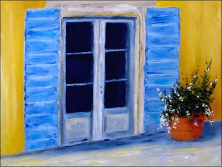 Oil painting of typical Italian country door with shutters.
