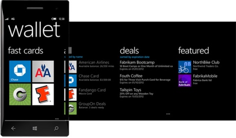 Aperçu du Wallet Windows Phone