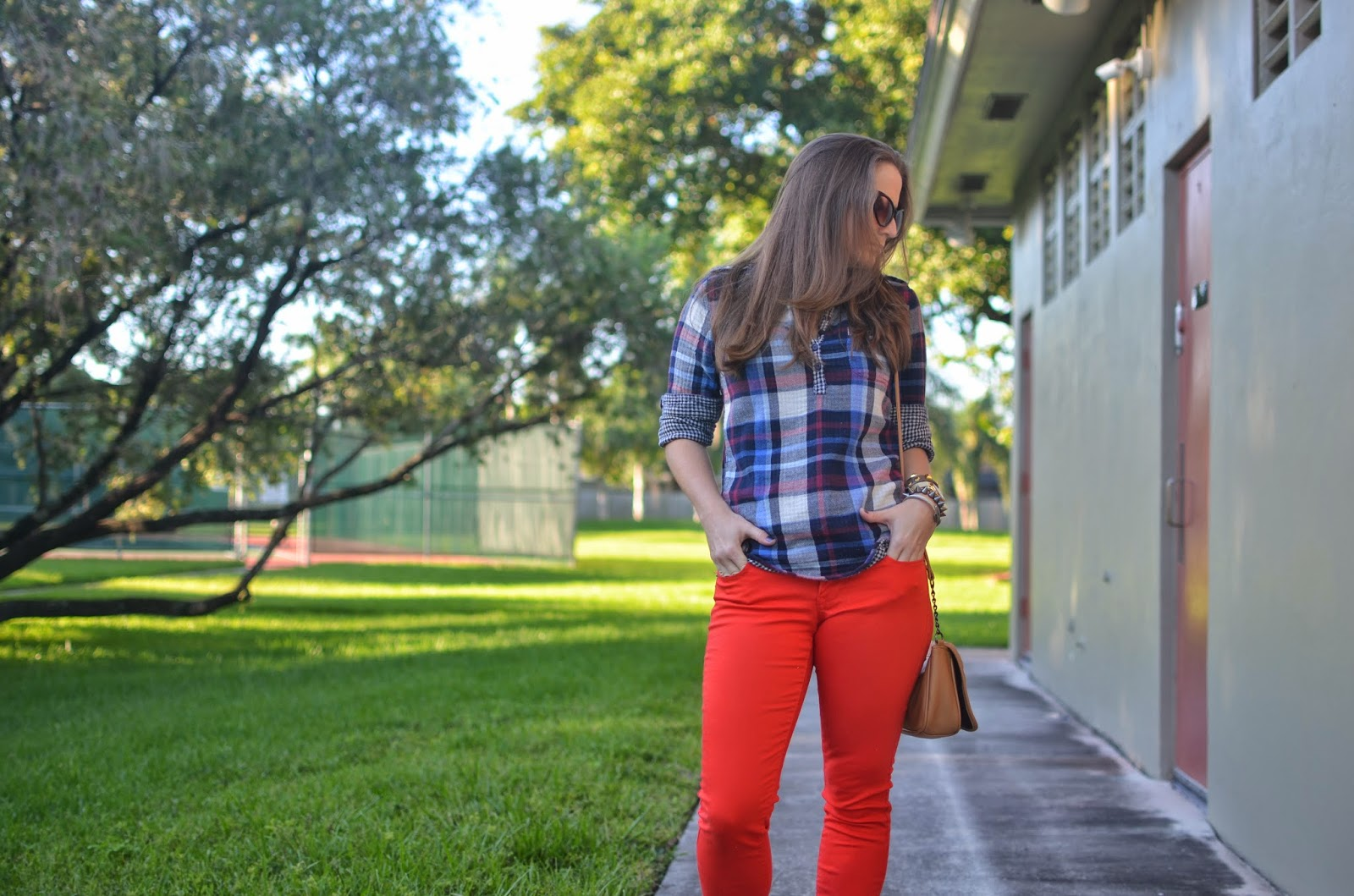 Plaid top - red pants - tan cross body - Emma & Sophia - brown wedges