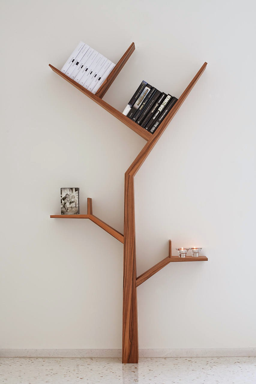 Creative tree shape book shlef for interior home decorations for Home interior shelf designs