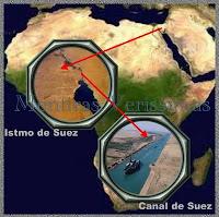 O istmo de Suez foi aberto dando origem ao Canal de Suez, que ligou o Mar Mediterrâneo ao Mar Vermelho
