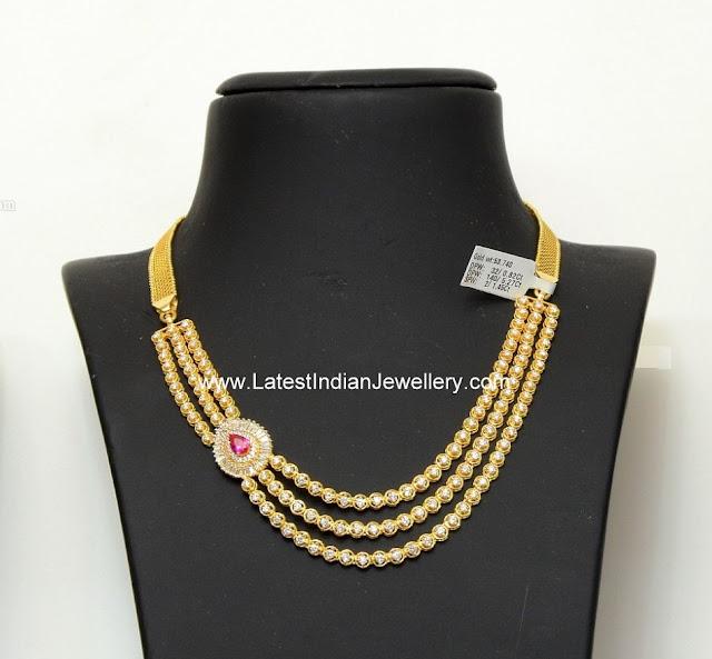 3 String Diamond Necklace Design