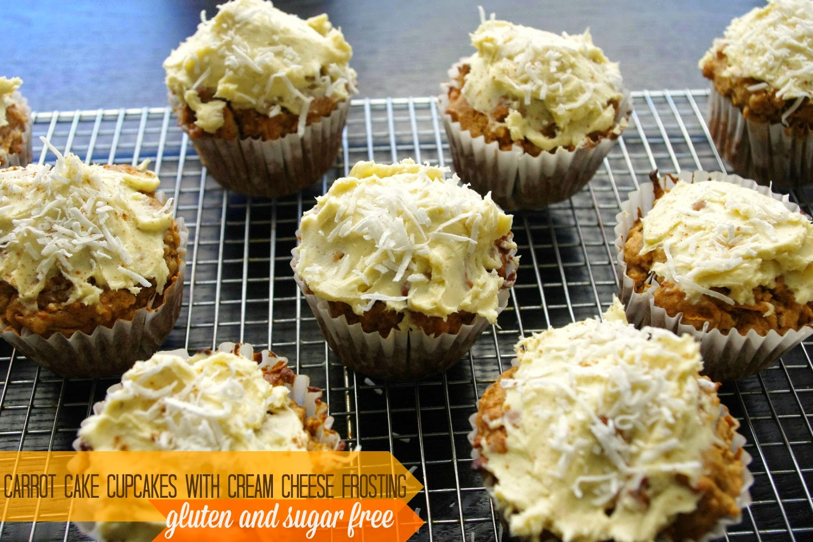 Carrot cake cupcakes with cream cheese frosting sugar and gluten free