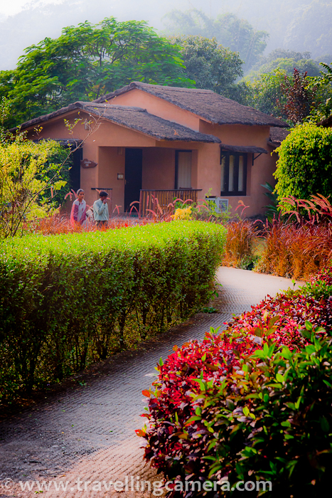 This photograph was clicked during one of my recent trips to Jim Corbett National Park. We stayed in Tarangi resort which is approximately 8 kilometers form Bijrani Gate of Jim Corbett National Park. It's showing one of the holiday cottage at Tarangi. Tarangi resort has lot of space around and density of cottages is very low wr.t. total area available in the resort. Very well maintained, full of flora n fauna and appropriate place to relax during holidays !!!