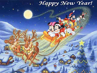 Mickey Mouse and friends Wishing Happy New Year Greeting