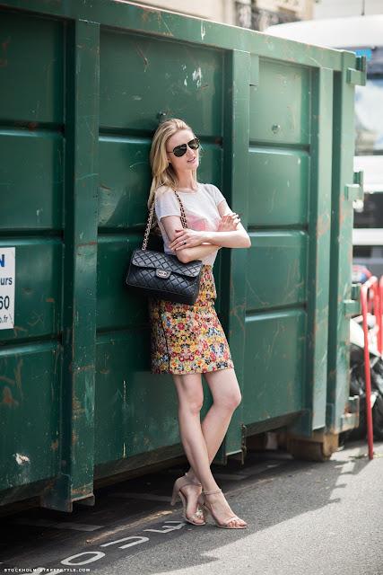 street style printed skirt