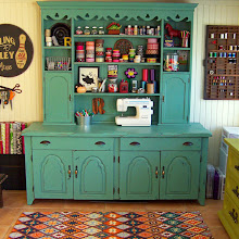 dining hutch turned craft storage