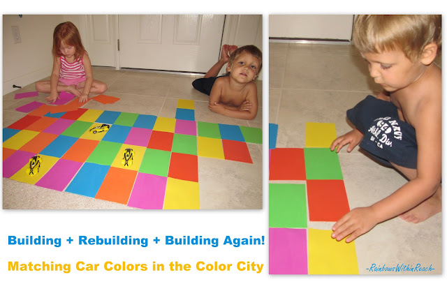 twins, preschool, building with shapes, design, color, foam rectangles