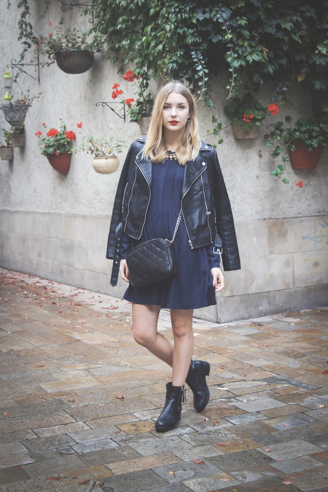 How to wear a dress with biker boots