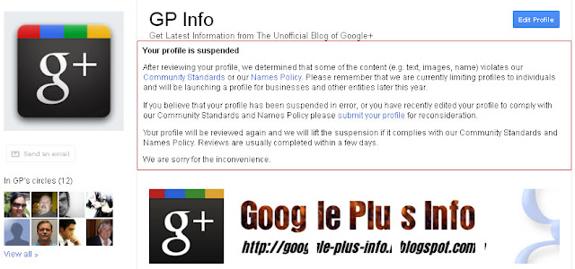Google+ Suspended