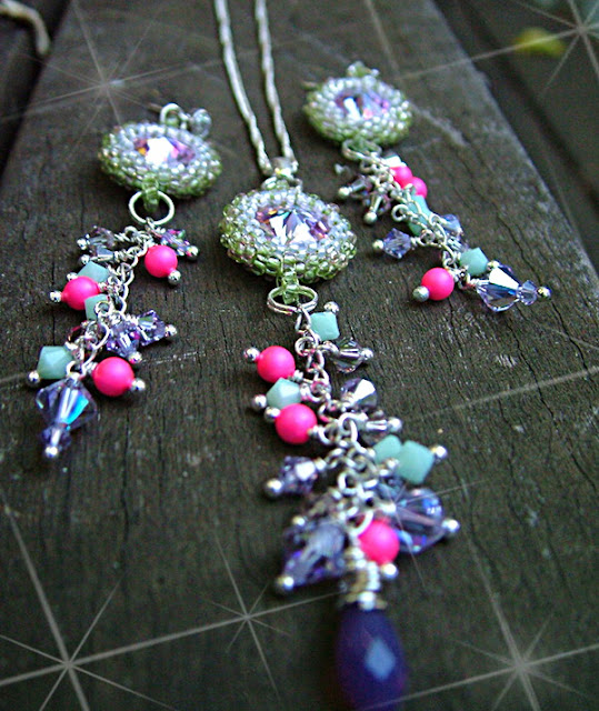 Vitrail Fling - Swarovski Rivoli Necklace and Earrings