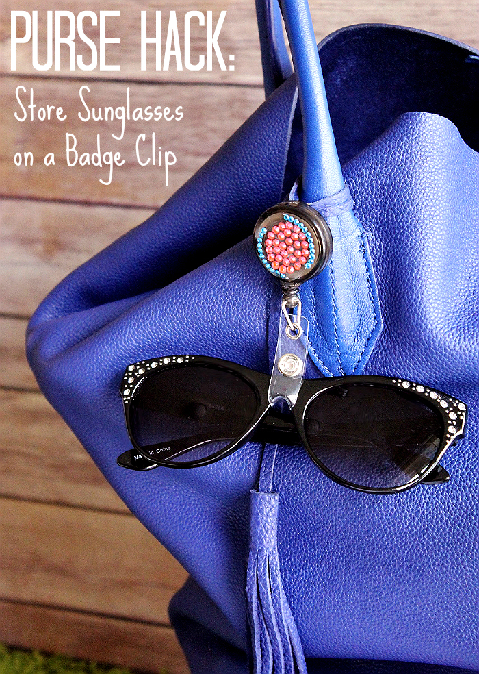 Purse Hack: Use badge clips to store sunglasses on your purse when not in use. Check out this roundup of Must Have Purse Essentials and #LifeHacks to #BeHealthyForEveryPartOfLife. (ad)