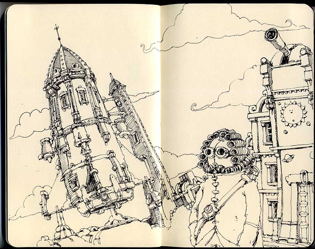 19-The-1667-Expidition-to-the-Moon-Mattias-Adolfsson-Surreal-Architectural-Moleskine-Drawings-www-designstack-co