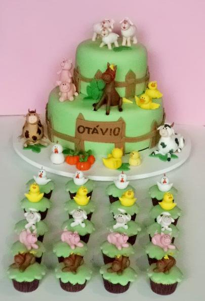 Cupcake decorado Fazendinha