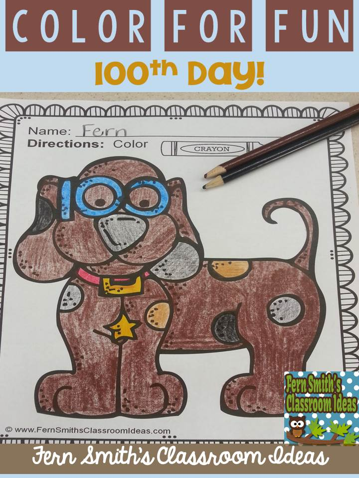 Fern Smith's Classroom Ideas 100th Day of School Giveaway of 100th Day Fun! Color For Fun Printable Coloring Pages and One More Resource of the Winner's Choice!