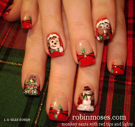 fashion and art trend christmas nail art design