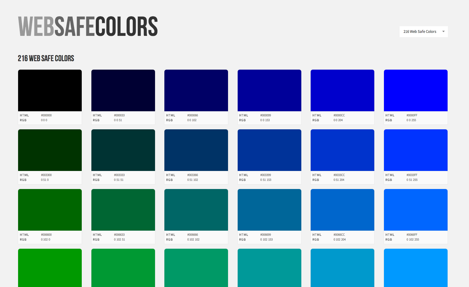 List of web safe colors for your color palette