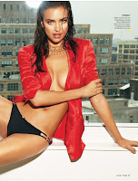 Irina Shayk in red shirt and black panties