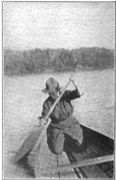 Kathrene Pinkerton in the ideal position for rowing in her canoe