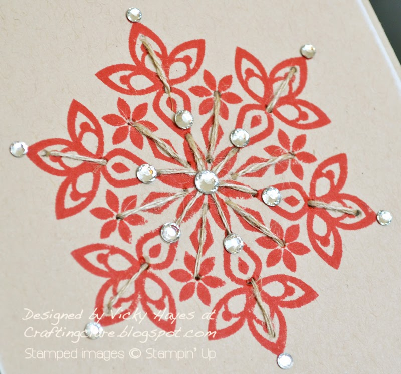 Christmas card idea using Festive Flurry from Stampin up with twine
