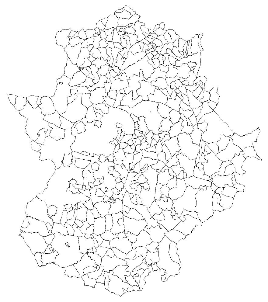 Mapa mudo de Extremadura para imprimir