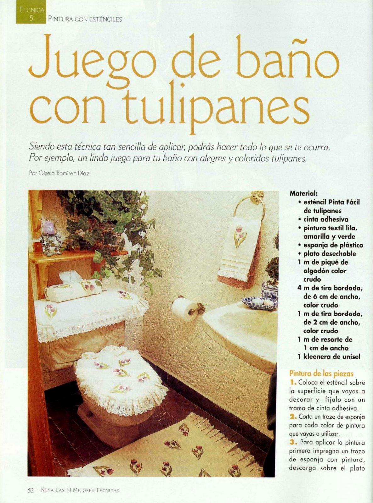 Juegos De Baño Moldes:Moldes para Todo: = Juego de Baño con tulipanes =