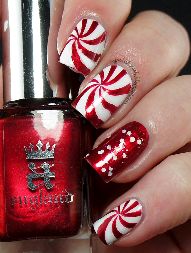 candy cane holiday nails red white