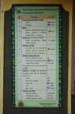 Entry fee and other tourist fees on display at K.Gudi, BRT tiger reserve, Karnataka