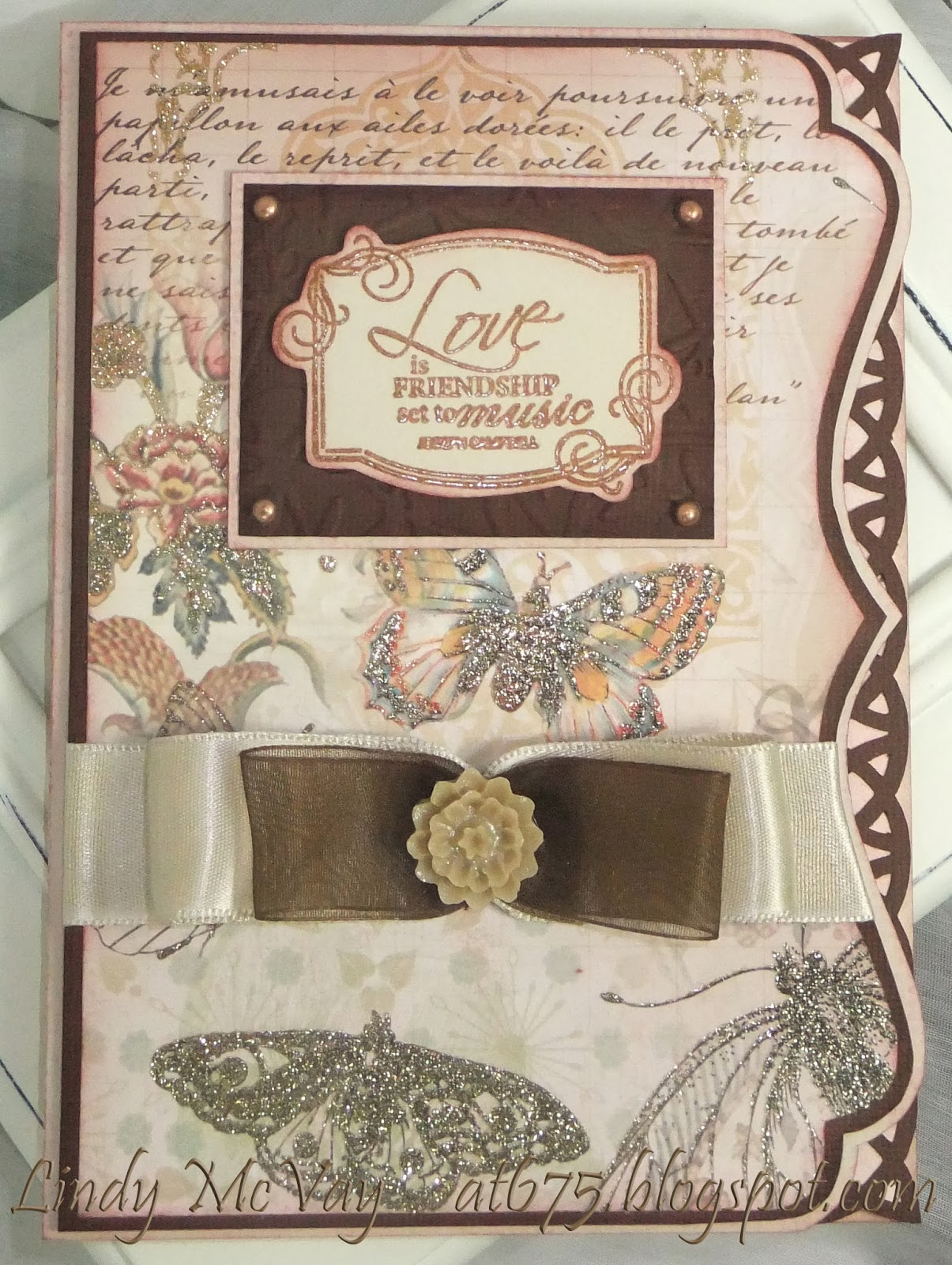 DCWV Mariposa, Silhouette SD, Simon Says Stamp Wednesday Challenge, cards, cards - anniversary, cards - wedding, Tim Holtz Distress Ink, Making Memories, Cuttlebug embossing folder, Offray ribbon, Bazzill Card  Stock, Tattered Angels Glimmer Mist, Fiskars stamp