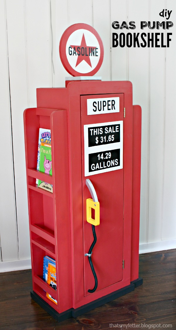 diy gas pump bookshelf