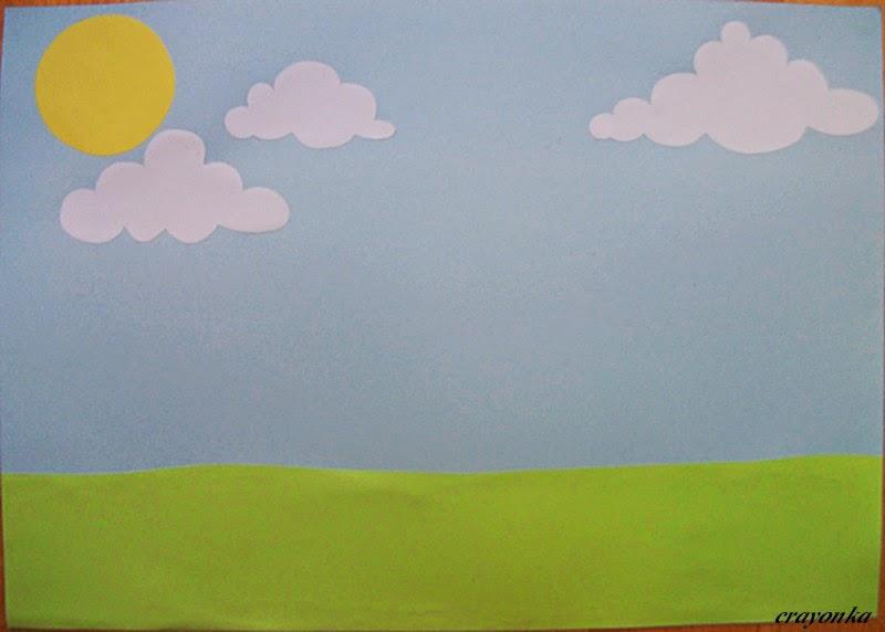 łąka z kolorowego papieru