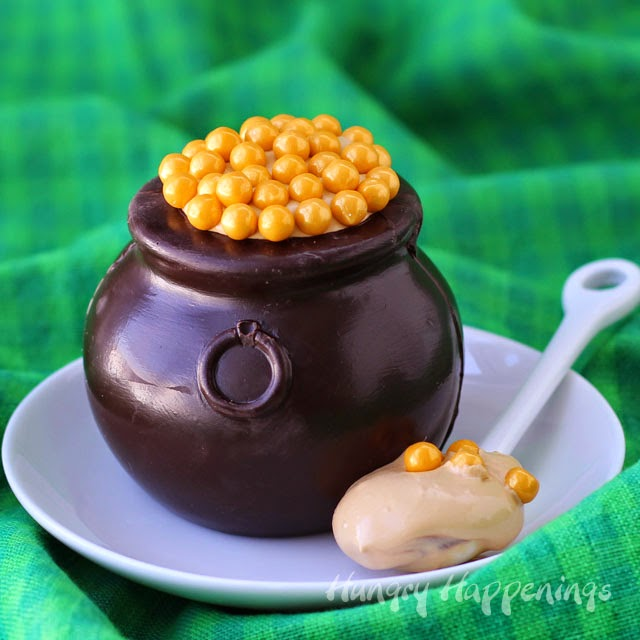 Chocolate Pots of Gold filled with Dulce de Leche Mousse ...