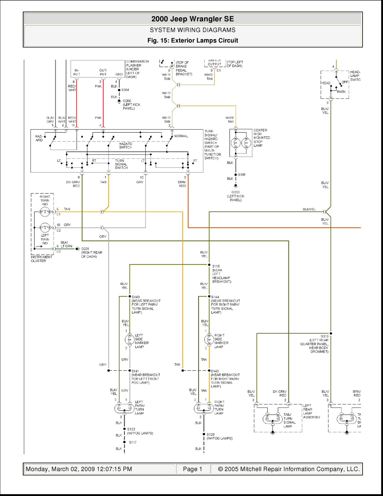 2000    Jeep       Wrangler    SE System    Wiring       Diagrams    Exterior Lamps Circuit   Schematic    Wiring       Diagrams