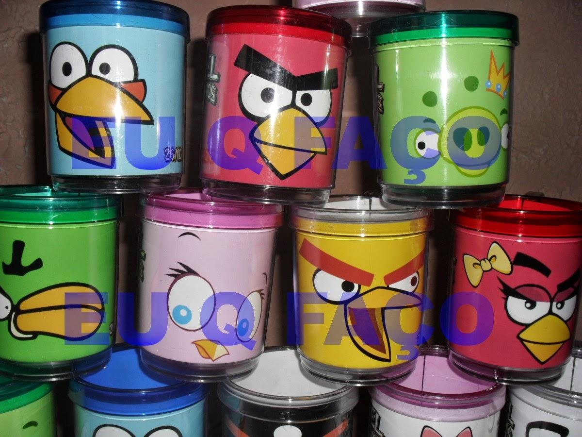 caneca de acrílico angry birds, lembrancinhas, brindes